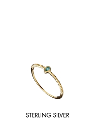 Asos Gold Plated Sterling Silver March Birthstone Ring Blue