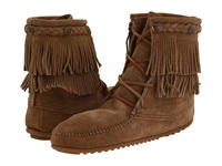 Minnetonka Double Fringe Front Lace Boot Taupe Suede Women's Lace Up Boots