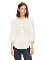 Kate Spade Embroidered Inset Top