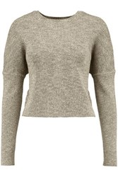 J Brand Ribbed Cotton Blend Sweater Gray