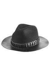 The Kooples Wool Fedora With Leather Black
