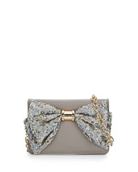 Betsey Johnson Oh Bow Sequined Wallet On Chain Stone