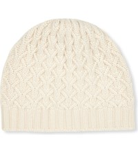 Johnstons Textured Ribbed Cashmere Beanie Chalk