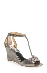 Women's Badgley Mischka 'Nedra' T Strap Wedge Pewter Suede