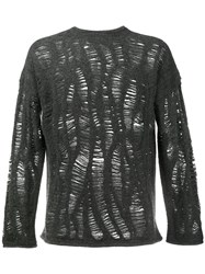 By Walid Cashmere Blend Distressed Jumper Grey