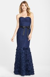 Js Collections Women's Rosette Detail Shirred Mesh Dress Navy
