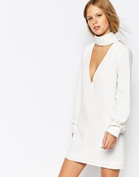 The Laden Showroom X Re Dream Plunge Neck Tunic Dress With Collar Cream