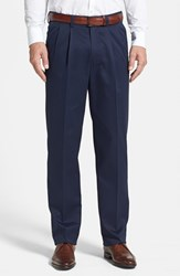 Nordstrom Men's Big And Tall Men's Shop 'Classic' Smartcare Tm Relaxed Fit Double Pleated Cotton Pants Navy