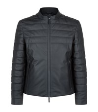 Armani Collezioni Padded Leather Motorcycle Jacket Male Black