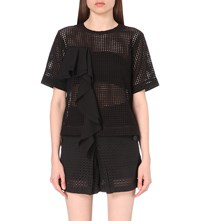 Izzue Rufled Lace Top Black