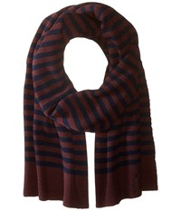 Marc Jacobs Logo Stripe Scarf Navy Multi Scarves Blue