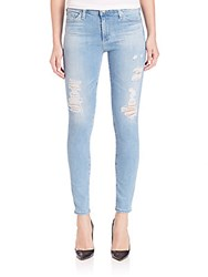 Ag Adriano Goldschmied Mid Rise Distressed Legging Ankle Jeans Blue