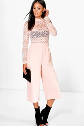 Boohoo Barely There Lace Culotte Jumpsuit Nude