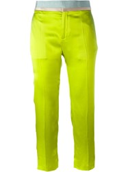 Haider Ackermann Ribbed Waist Cropped Trousers Green