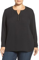 Sejour Plus Size Women's Embellished Keyhole Top
