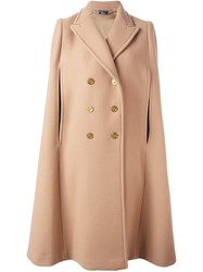 Alexander Mcqueen Double Breasted Cape Brown