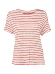 Lee Cropped Stripe Tee Red