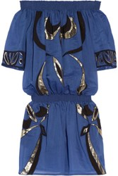 Emilio Pucci Embroidered Cotton And Silk Blend Coverup Blue