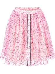 Fendi Sheer Floral Skirt Pink And Purple