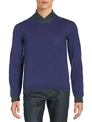 Giorgio Armani Virgin Wool And Cashmere V Neck Sweater Plum