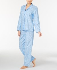 Charter Club Printed Flannel Pajama Set Only At Macy's Blue Scroll
