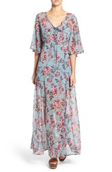 Band Of Gypsies Women's Floral Print Sheer Maxi Dress Slate Blue