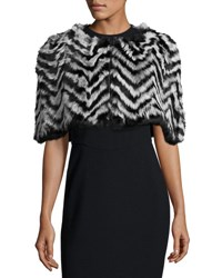 Jocelyn Chevron Pattern Fur Wrap Shrug Black Quie