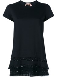 No21 Sequin Ruffle Short Sleeve Top Black