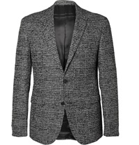 Hugo Boss Ross Slim Fit Checked Tweed Blazer Black