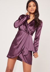 Missguided Silky Long Sleeve Wrap Shift Dress Dusky Purple Purple