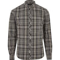 Only And Sons River Island Mens Grey Marl Casual Check Shirt