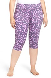 Zella Plus Size Women's 'Live In 2' Slim Fit Capris Grey Graphite Animalia Print