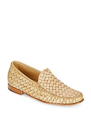 Saks Fifth Avenue Woven Veneta Leather Loafers Sand
