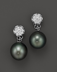 Bloomingdale's Cultured Tahitian Pearl Two Piece Earring With Diamonds In 18K White Gold 11Mm White Black