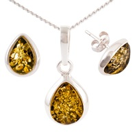 Be Jewelled Sterling Silver Tear Drop Green Amber Pendant Necklace And Earrings Gift Set Amber
