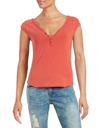 Free People Cotton Spandex Henley Tee Papaya Orange