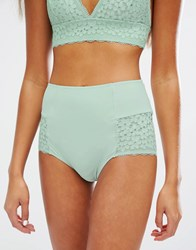 Monki Lace Highwaist Brief Green