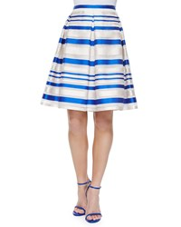 Phoebe Couture Striped Pleated Midi Skirt Blue White