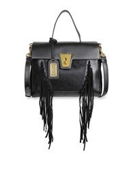 Badgley Mischka Farrah Fringe Leather And Calf Hair Crossbody Bag Black