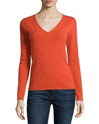Neiman Marcus Cashmere V Neck Rolled Trim Sweater Furnace