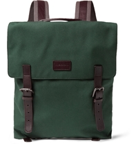Dolce And Gabbana Leather Trimmed Canvas Backpack Green
