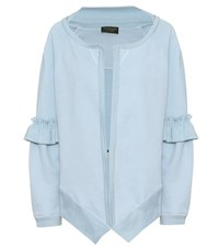 Burberry Cotton Blend Jersey Cardigan Blue
