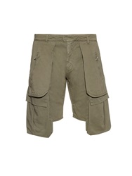 Off White Cotton Gabardine Cargo Shorts