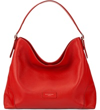 Aspinal Of London Pebbled Leather Hobo Bag Berry