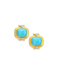 19K Turquoise Cabochon Clip Post Earrings Elizabeth Locke