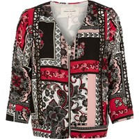 River Island Womens Red Printed Zip Up Bomber Jacket