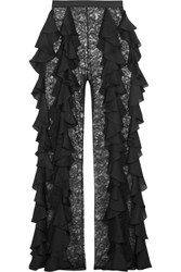 Balmain Silk Ruffled Lace Wide Leg Pants Black