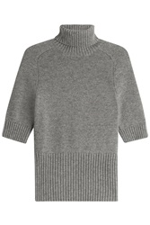 Michael Kors Short Sleeve Cashmere Turtleneck Pullover Grey