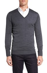 John Smedley Men's 'Bobby' Easy Fit V Neck Wool Sweater Charcoal