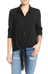 Women's Painted Threads Tie Front Shirt Black